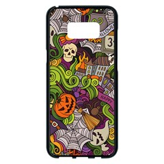 Halloween Doodle Vector Seamless Pattern Samsung Galaxy S8 Plus Black Seamless Case by Sobalvarro