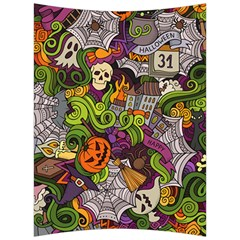 Halloween Doodle Vector Seamless Pattern Back Support Cushion by Sobalvarro