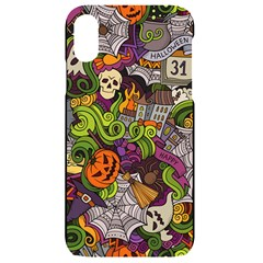 Halloween Doodle Vector Seamless Pattern Iphone Xr Black Uv Print Case