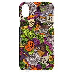 Halloween Doodle Vector Seamless Pattern Iphone X/xs Black Uv Print Case by Sobalvarro