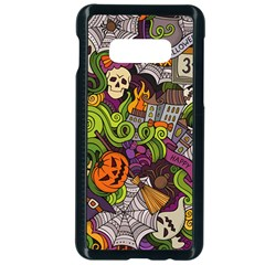 Halloween Doodle Vector Seamless Pattern Samsung Galaxy S10e Seamless Case (black) by Sobalvarro