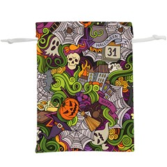 Halloween Doodle Vector Seamless Pattern  Lightweight Drawstring Pouch (xl) by Sobalvarro