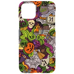 Halloween Doodle Vector Seamless Pattern Iphone 11 Black Uv Print Case by Sobalvarro
