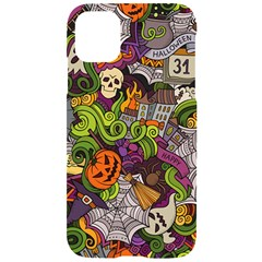 Halloween Doodle Vector Seamless Pattern Iphone 11 Pro Black Uv Print Case by Sobalvarro