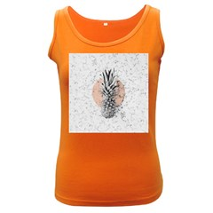 Rose Pineapples On White Marble Women s Dark Tank Top by goljakoff