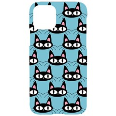 Cute Black Cat Pattern Iphone 11 Black Uv Print Case by Valentinaart