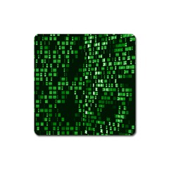 Abstract Plaid Green Square Magnet
