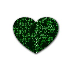 Abstract Plaid Green Heart Coaster (4 Pack)