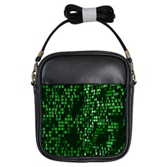 Abstract Plaid Green Girls Sling Bag