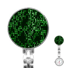 Abstract Plaid Green Stainless Steel Nurses Watch