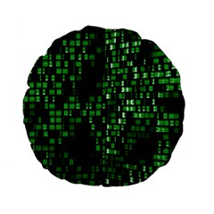Abstract Plaid Green Standard 15  Premium Flano Round Cushions