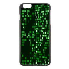 Abstract Plaid Green Iphone 6 Plus/6s Plus Black Enamel Case