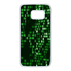Abstract Plaid Green Samsung Galaxy S7 White Seamless Case
