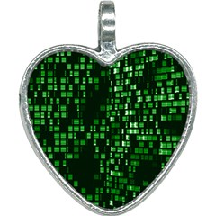 Abstract Plaid Green Heart Necklace