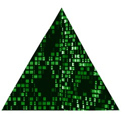 Abstract Plaid Green Wooden Puzzle Triangle