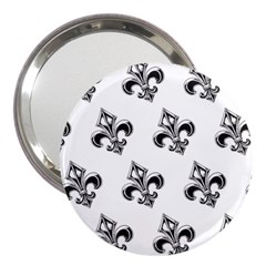 French France Fleur De Lys Metal Pattern Black And White Antique Vintage 3  Handbag Mirrors by Quebec