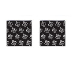 French France Fleur De Lys Metal Pattern Black And White Antique Vintage Black Rocker Cufflinks (square) by Quebec