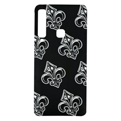 French France Fleur De Lys Metal Pattern Black And White Antique Vintage Black Rocker Samsung Galaxy A9 Tpu Uv Case by Quebec