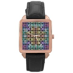 Abstrait Formes Colors Rose Gold Leather Watch