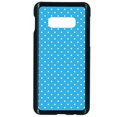White Polka Dots On Blue Ink Samsung Galaxy S10e Seamless Case (black)
