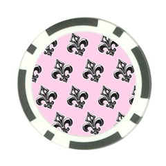 French France Fleur De Lys Metal Pattern Black And White Antique Vintage Pink And Black Rocker Poker Chip Card Guard (10 Pack) by Quebec