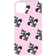 French France Fleur De Lys Metal Pattern Black And White Antique Vintage Pink And Black Rocker Iphone 11 Pro Max Black Uv Print Case by Quebec