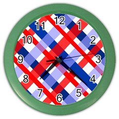 Red And Blue Plaid Color Wall Clock