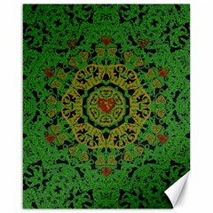 Love The Hearts  Mandala On Green Canvas 16  X 20  by pepitasart