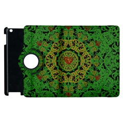 Love The Hearts  Mandala On Green Apple Ipad 2 Flip 360 Case by pepitasart