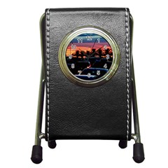 Urban Sunset Scene, Punta Del Este   Uruguay Pen Holder Desk Clock