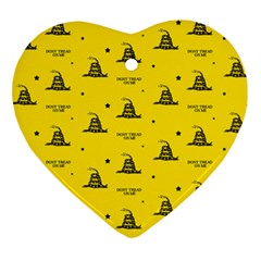 Gadsden Flag Don t Tread On Me Yellow And Black Pattern With American Stars Ornament (heart)