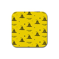 Gadsden Flag Don t Tread On Me Yellow And Black Pattern With American Stars Rubber Coaster (square)