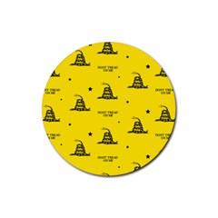 Gadsden Flag Don t Tread On Me Yellow And Black Pattern With American Stars Rubber Coaster (round)