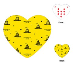 Gadsden Flag Don t Tread On Me Yellow And Black Pattern With American Stars Playing Cards Single Design (heart)