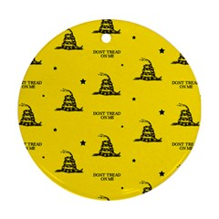 Gadsden Flag Don t Tread On Me Yellow And Black Pattern With American Stars Round Ornament (two Sides) by snek