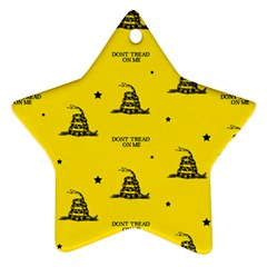 Gadsden Flag Don t Tread On Me Yellow And Black Pattern With American Stars Star Ornament (two Sides)