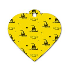 Gadsden Flag Don t Tread On Me Yellow And Black Pattern With American Stars Dog Tag Heart (two Sides)