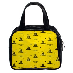Gadsden Flag Don t Tread On Me Yellow And Black Pattern With American Stars Classic Handbag (two Sides)