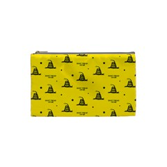 Gadsden Flag Don t Tread On Me Yellow And Black Pattern With American Stars Cosmetic Bag (small)