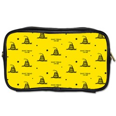 Gadsden Flag Don t Tread On Me Yellow And Black Pattern With American Stars Toiletries Bag (two Sides)