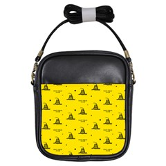Gadsden Flag Don t Tread On Me Yellow And Black Pattern With American Stars Girls Sling Bag