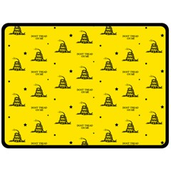 Gadsden Flag Don t Tread On Me Yellow And Black Pattern With American Stars Fleece Blanket (large)  by snek