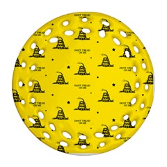 Gadsden Flag Don t Tread On Me Yellow And Black Pattern With American Stars Round Filigree Ornament (two Sides)