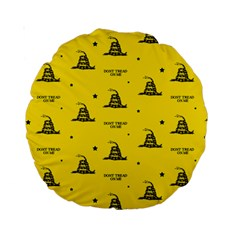 Gadsden Flag Don t Tread On Me Yellow And Black Pattern With American Stars Standard 15  Premium Round Cushions