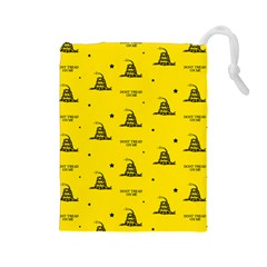 Gadsden Flag Don t Tread On Me Yellow And Black Pattern With American Stars Drawstring Pouch (large) by snek