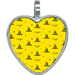 Gadsden Flag Don t Tread On Me Yellow And Black Pattern With American Stars Heart Necklace