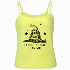 Gadsden Flag Don t Tread On Me Yellow And Black Pattern With American Stars Yellow Spaghetti Tank