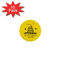 Gadsden Flag Don t Tread On Me Yellow And Black Pattern With American Stars 1  Mini Buttons (10 Pack)