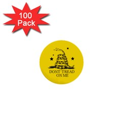 Gadsden Flag Don t Tread On Me Yellow And Black Pattern With American Stars 1  Mini Buttons (100 Pack)