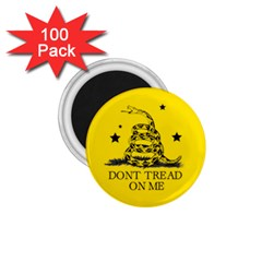 Gadsden Flag Don t Tread On Me Yellow And Black Pattern With American Stars 1 75  Magnets (100 Pack)